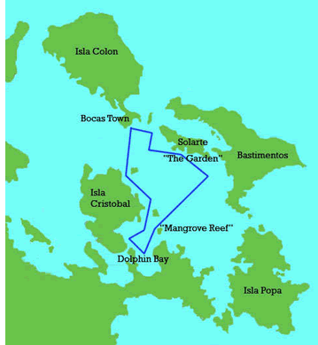 Trajet du tour quotidien en catamaran à Bocas del Toro, Panama
